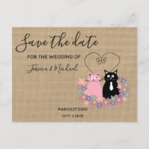 Burlap funny cute  cartoon cats save the date announcement postcard
