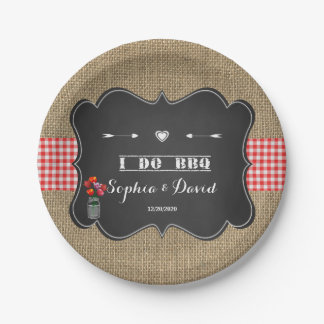 Burlap Gongham and Chalkboard I DO BBQ Custom Paper Plate
