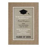 "Burlap Graduation Announcement 5"" X 7"" Invitation Card"