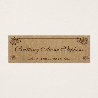 Burlap Graduation Name Card Insert