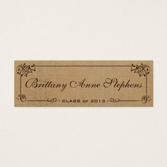Burlap Graduation Name Card Insert