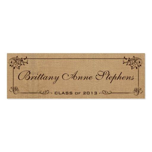 burlap graduation name card insert business card template zazzle. Black Bedroom Furniture Sets. Home Design Ideas