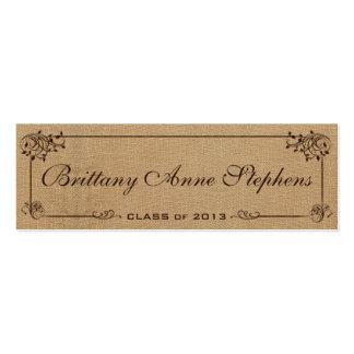 Burlap Graduation Name Card Insert Business Card Template