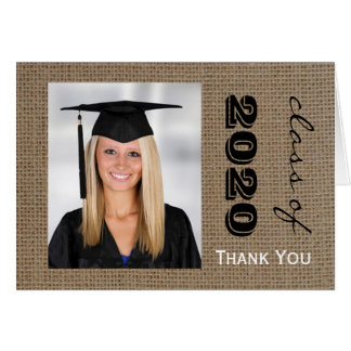 Burlap Graduation Photo Thank You Note Cards