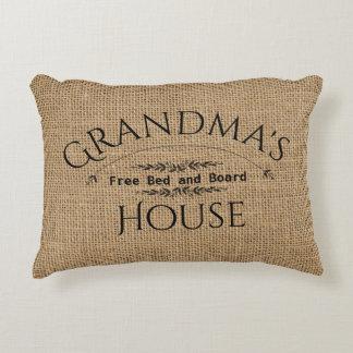 Burlap Grandma's House Personalize Decorative Pillow