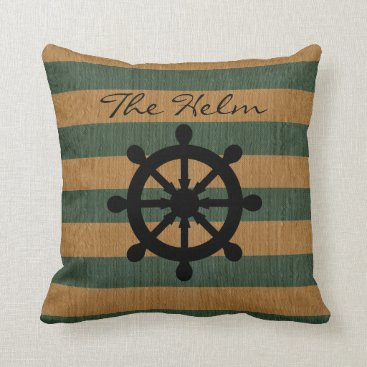 Beach Themed Burlap Green & Tan Stripes with Silhouette Helm Throw Pillow