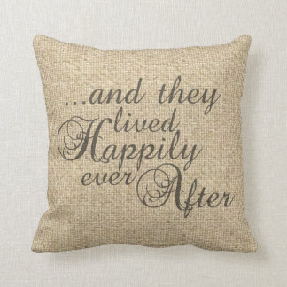 Burlap happy ever after wedding decorative pillow