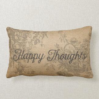 Burlap Happy Thoughts Floral Lumbar Pillow