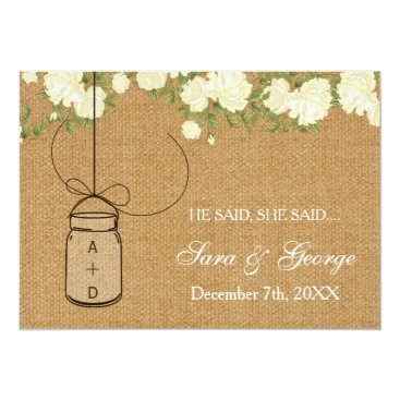 burlap He said, She said bridal shower game card