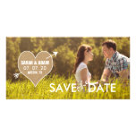 Burlap Heart   Rustic Save the Date Photo Card