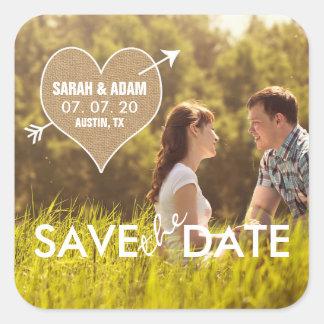 Burlap Heart | Rustic Save the Date Sticker