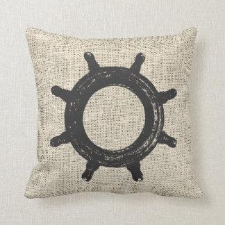 Burlap Helm Sailing Throw Pillows