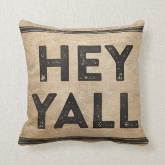 Burlap Hey Yall its a southern thing Throw Pillow