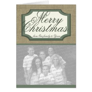 Burlap Holiday Photo Greeting Greeting Card