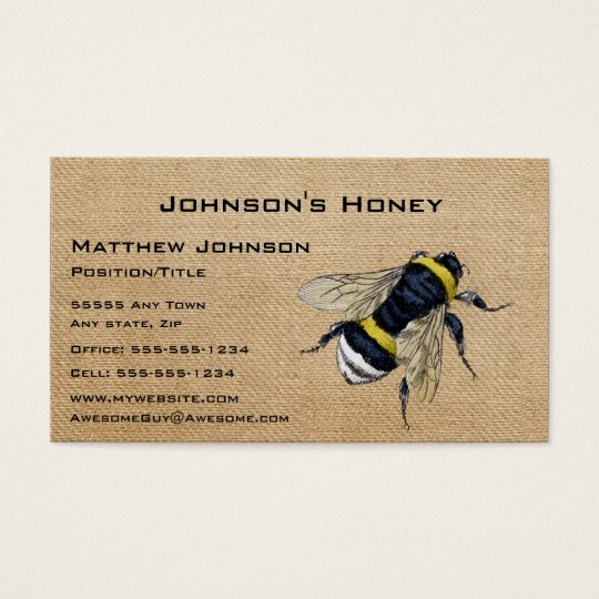Burlap honey bee business card zazzlecom for Bee business cards