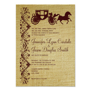 Burlap Horse And Carriage Wedding Invitations