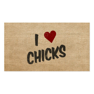 Burlap I Heart Chicks Business Cards