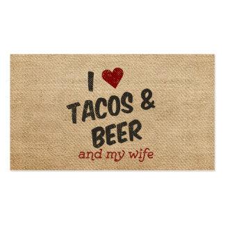 Burlap I heart Tacos Beer Wife Business Card Templates