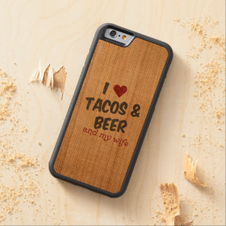 Burlap I heart Tacos Beer Wife Carved® Cherry iPhone 6 Bumper