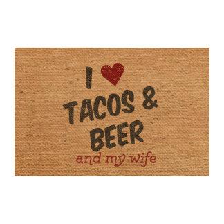 Burlap I heart Tacos Beer Wife Cork Paper