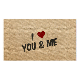 Burlap I Heart You and Me Business Card Templates