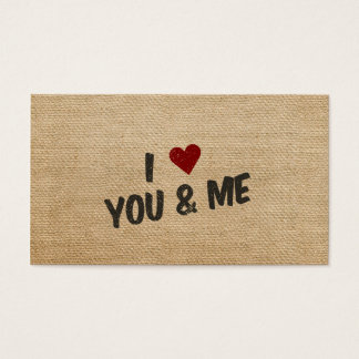 Burlap I Heart You and Me Business Card