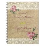 Burlap Image Pink Roses Bridal Shower Guest Book Note Book