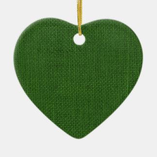 Burlap in Christmas Green Ceramic Ornament