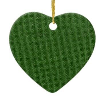 Beach Themed Burlap in Christmas Green Ceramic Ornament