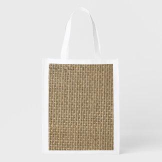 Burlap in Natural Beige Reusable Grocery Bag