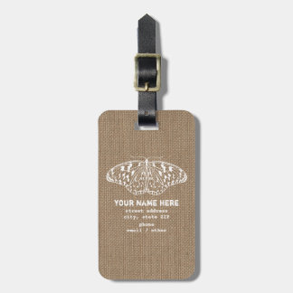 Burlap Insired Butterfly Luggage Tag