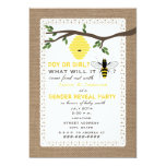 Burlap Inspired Bee Themed Gender Reveal Party Card