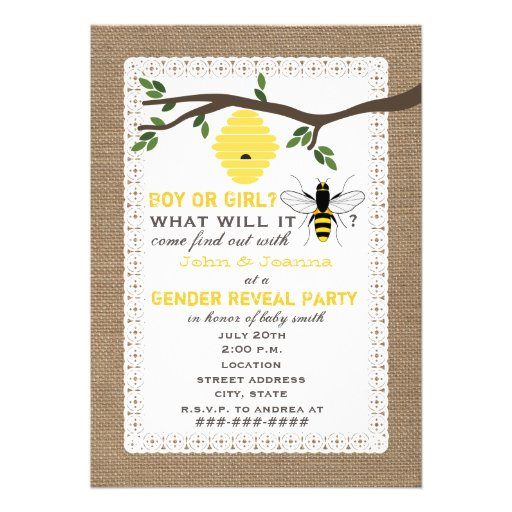 Burlap Inspired Bee Themed Gender Reveal Party Personalized Invite