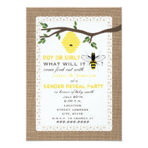 Burlap Inspired Bee Themed Gender Reveal Party Invitation