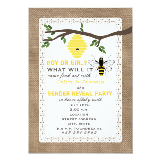 Burlap Inspired Bee Themed Gender Reveal Party 5x7 Paper Invitation Card
