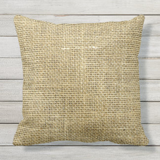 Burlap Inspired Beige Rustic Woven Texture Look Outdoor Pillow