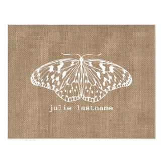 Burlap Inspired Butterfly Flat Notecards Announcement