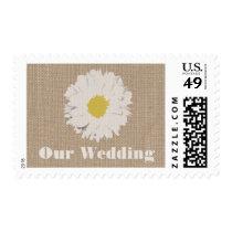 Burlap Inspired Daisy Wedding Postage