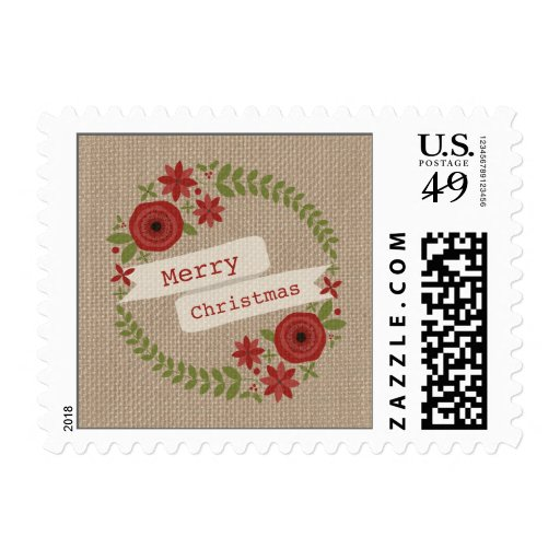 Burlap Inspired Floral Wreath Christmas Postage