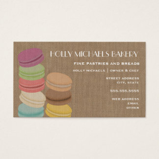 Burlap Inspired French Macarons Bakery Business Card