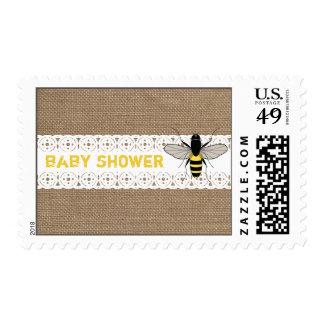 Burlap Inspired Honey Bee Baby Shower Stamp