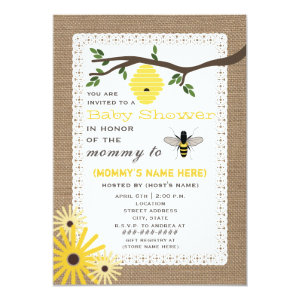 Bumble bee baby shower invitations cute baby shower invitations burlap inspired honey bee themed baby shower 5x7 paper invitation card filmwisefo Choice Image