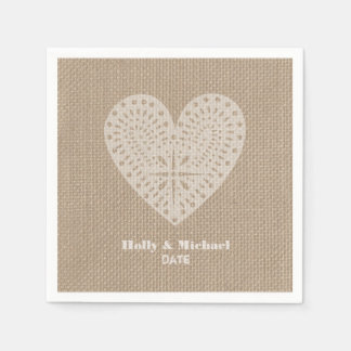 Burlap Inspired Lace Heart Wedding Napkins Standard Cocktail Napkin