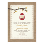 "Burlap Inspired Lantern Camping Fall Rehearsal 5"" X 7"" Invitation Card"