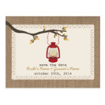 Burlap Inspired Lantern Fall Wedding Save The Date Post Card