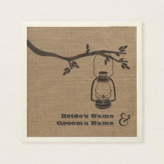 Burlap Inspired Lantern + Tree Wedding Napkins