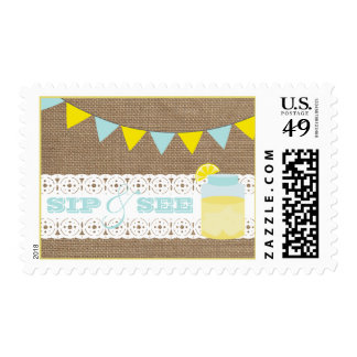 Burlap Inspired Lemonade Blue Sip & See Postage