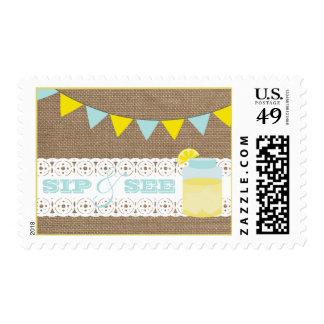 Burlap Inspired Lemonade Blue Sip & See Postage