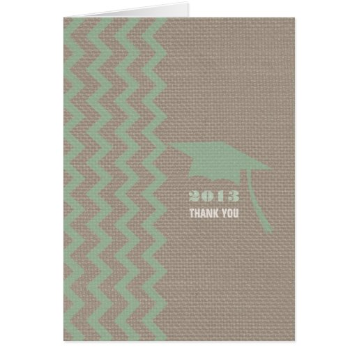 Burlap Inspired Mint Zigzag Graduation Thank You Greeting Card
