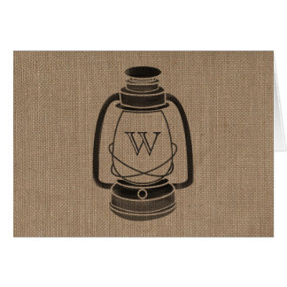 Burlap Inspired Monogram Oil Lantern Notecards Stationery Note Card